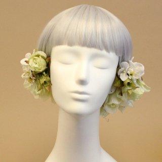 アーティフィシャルフラワー(造花)のブリティッシュローズの髪飾り(白)画像_airaka