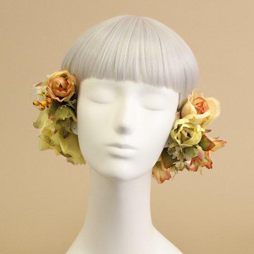 アーティフィシャルフラワー(造花)のブリティッシュローズの髪飾り(ガーデン)画像_airaka