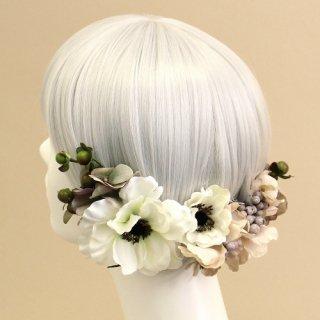 アーティフィシャルフラワー(造花)のアネモネの髪飾り(白)画像_airaka