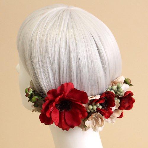 アーティフィシャルフラワー(造花)のアネモネの髪飾り(赤)画像_airaka