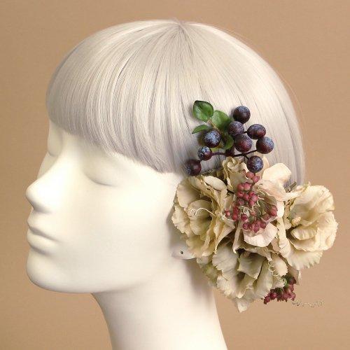 アーティフィシャルフラワー(造花)のトルコキキョウの髪飾り(ベージュ)画像_airaka