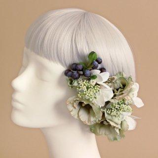 アーティフィシャルフラワー(造花)のトルコキキョウの髪飾り(グリーン)画像_airaka