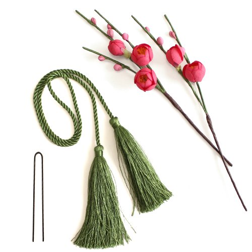 アーティフィシャルフラワー(造花)の紅梅とタッセル(緑)画像_airaka