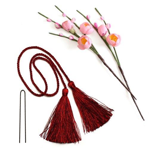アーティフィシャルフラワー(造花)の薄紅梅とタッセル(赤)画像_airaka