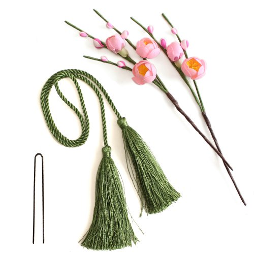 アーティフィシャルフラワー(造花)の薄紅梅とタッセル(緑)画像_airaka