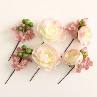 アーティフィシャルフラワー(造花)の椿の髪飾り(ピンク)画像_airaka
