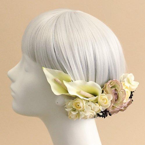 アーティフィシャルフラワー(造花)のカラーの髪飾り(白)画像_airaka