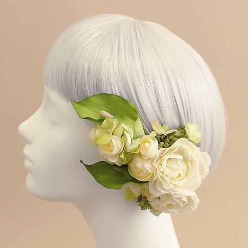 アーティフィシャルフラワー(造花)のカラーの髪飾り(グリーン)画像_airaka