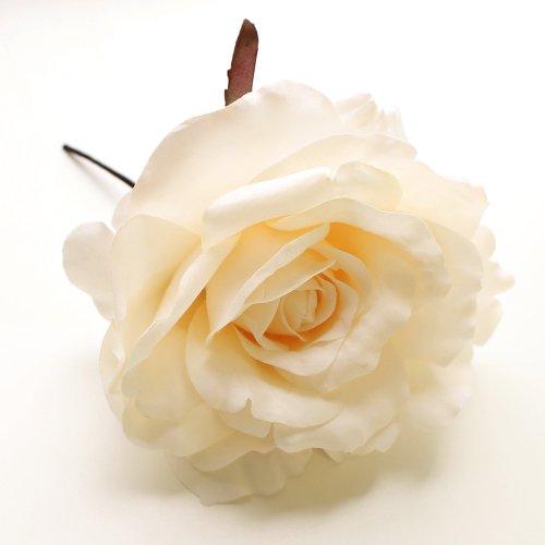 アーティフィシャルフラワー(造花)のオールドローズの髪飾り(パープル)画像_airaka