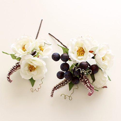 アーティフィシャルフラワー(造花)の髪飾り/イングリッシュローズ(白)画像_airaka