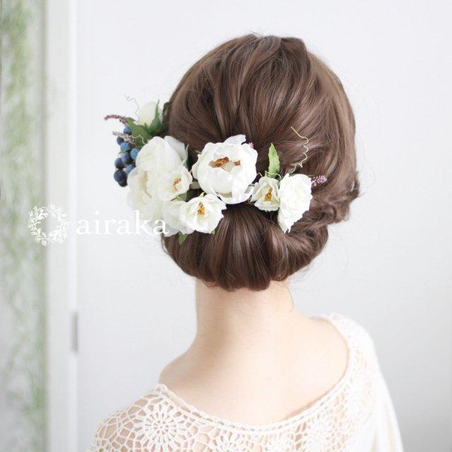 アーティフィシャルフラワー(造花)のイングリッシュローズの髪飾り(白)画像_airaka