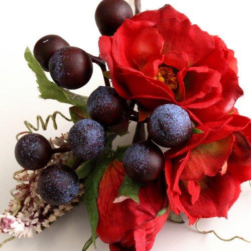 アーティフィシャルフラワー(造花)の髪飾り/イングリッシュローズ(赤)画像_airaka