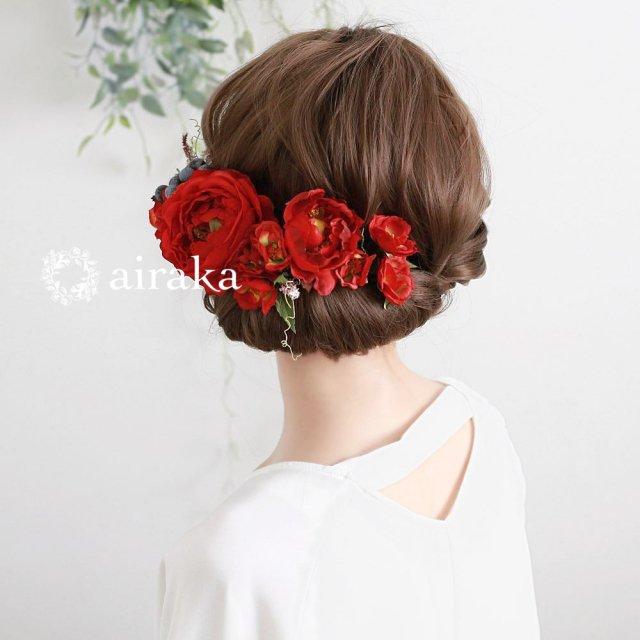 アーティフィシャルフラワー(造花)のイングリッシュローズの髪飾り(赤)画像_airaka