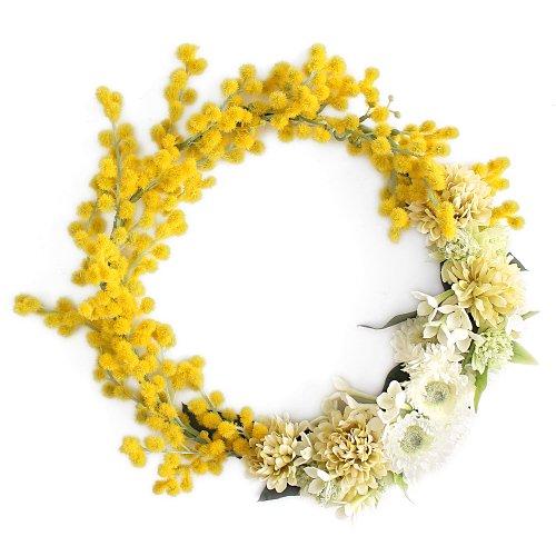 アーティフィシャルフラワー(造花)のミモザの花冠画像_airaka
