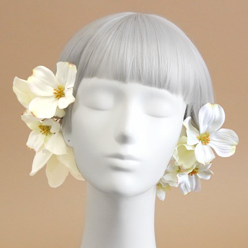アーティフィシャルフラワー(造花)のマグノリアの髪飾り(白)_airaka