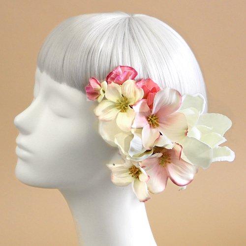 アーティフィシャルフラワー(造花)のマグノリアの髪飾り(ピンク)画像_airaka