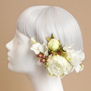 アーティフィシャルフラワー(造花)の毬芍薬の髪飾り(白)画像_airaka
