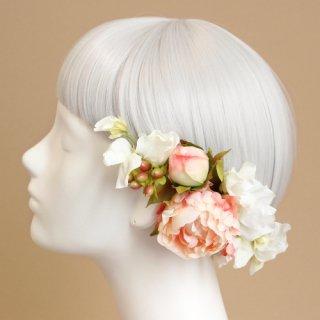 アーティフィシャルフラワー(造花)の毬芍薬の髪飾り(ピーチ)画像_airaka