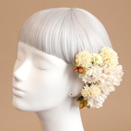 アーティフィシャルフラワー(造花)のポンポンマムの髪飾り(白)画像_airaka