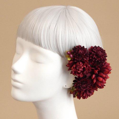 アーティフィシャルフラワー(造花)のポンポンマムの髪飾り(赤)画像_airaka