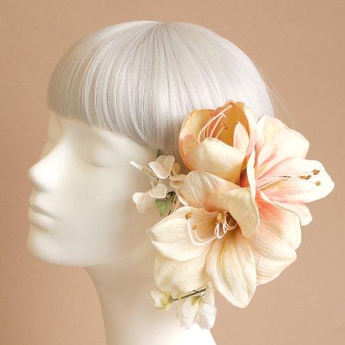 アーティフィシャルフラワー(造花)のアマリリスの髪飾り(ピーチ)画像_airaka