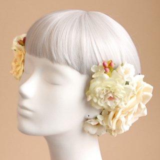 アーティフィシャルフラワー(造花)のオープンローズの髪飾り(クリーム)画像_airaka