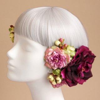 アーティフィシャルフラワー(造花)のオープンローズの髪飾り(プラム)画像_airaka