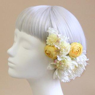 アーティフィシャルフラワー(造花)の手鞠菊の髪飾り(クリームホワイト)画像_airaka