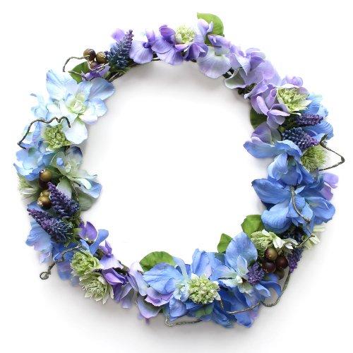 アーティフィシャルフラワー(造花)のデルフィニウムのラウンドブーケと花冠のセット(青)_airaka