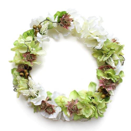 アーティフィシャルフラワー(造花)のデルフィニウムのラウンドブーケと花冠のセット(白)_airaka