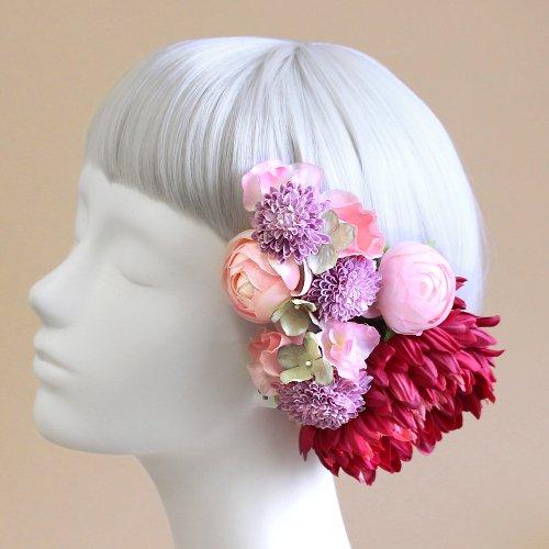 アーティフィシャルフラワー(造花)の手鞠菊の髪飾り(ピンク)画像_airaka
