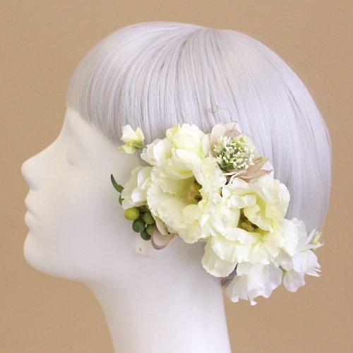 アーティフィシャルフラワー(造花)のトルコキキョウの髪飾り(クリームホワイト)画像_airaka