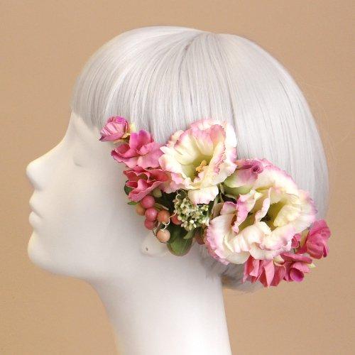 アーティフィシャルフラワー(造花)のトルコキキョウの髪飾り(ピンク)画像_airaka