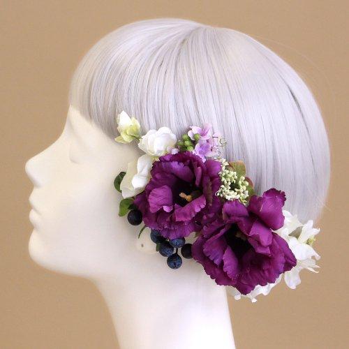 アーティフィシャルフラワー(造花)のトルコキキョウの髪飾り(パープル)画像_airaka