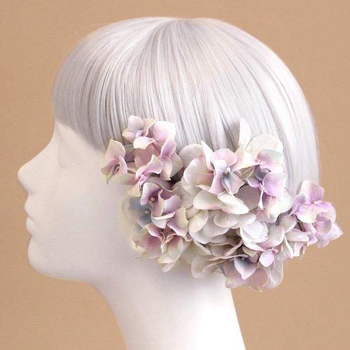 アーティフィシャルフラワー(造花)の紫陽花の髪飾り(ラベンダー)画像_airaka