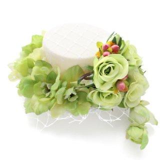 アーティフィシャルフラワー(造花)のリトルローズのミニハット(グリーン)画像_airaka