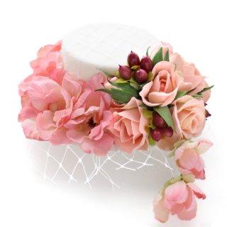 アーティフィシャルフラワー(造花)のリトルローズのミニハット(ピンク)画像_airaka