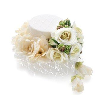 アーティフィシャルフラワー(造花)のリトルローズのミニハット(エクリュ)画像_airaka