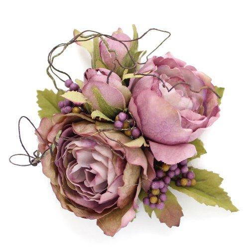 アーティフィシャルフラワー(造花)のサンクローズの髪飾り(パープル)画像_airaka