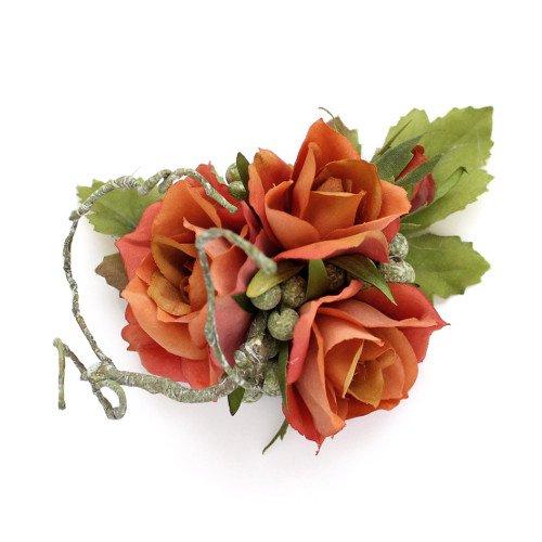 アーティフィシャルフラワー(造花)のサンクローズの髪飾り(オレンジ)画像_airaka