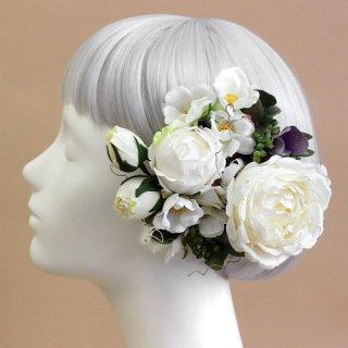 アーティフィシャルフラワー(造花)のロゼットローズの髪飾り(クリームホワイト)画像_airaka