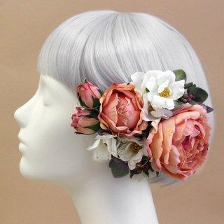 アーティフィシャルフラワー(造花)のロゼットローズの髪飾り(ピーチ)画像_airaka