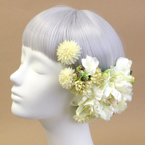 アーティフィシャルフラワー(造花)の芍薬とマムの髪飾り(クリームグリーン)画像_airaka