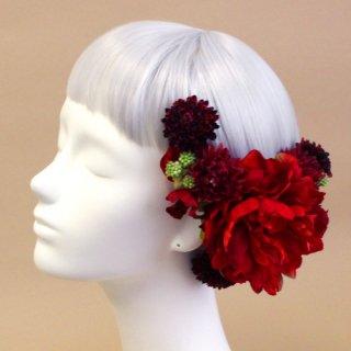 アーティフィシャルフラワー(造花)の芍薬とマムの髪飾り(赤)画像_airaka