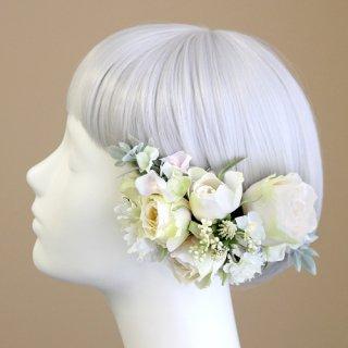 アーティフィシャルフラワー(造花)のバラと野花の髪飾り(クリーム)画像_airaka
