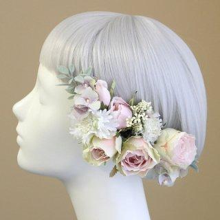 アーティフィシャルフラワー(造花)のバラと野花の髪飾り(ピンク)画像_airaka