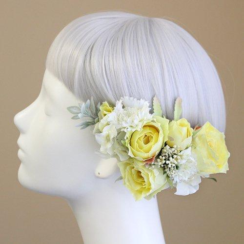 アーティフィシャルフラワー(造花)のバラと野花の髪飾り(イエロー)画像_airaka