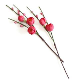 アーティフィシャルフラワー(造花)の紅梅の髪飾り画像_airaka