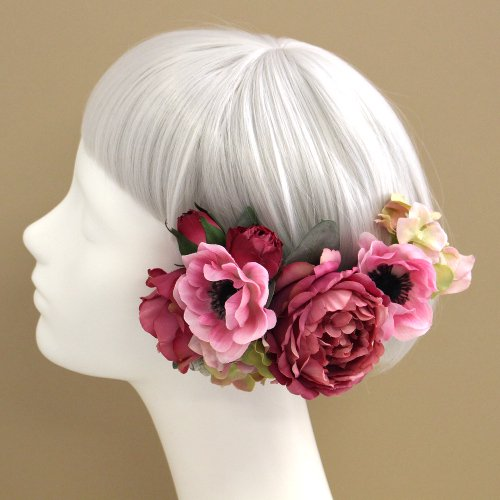 アーティフィシャルフラワー(造花)のアネモネとバラの髪飾り(モーヴピンク)画像_airaka