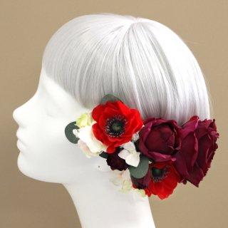 アーティフィシャルフラワー(造花)のアネモネとバラの髪飾り(ワインレッド)画像_airaka